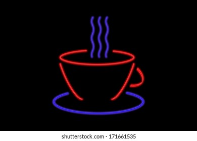 Illuminated Neon sign with a blue and red coffee cup isolated on black background
