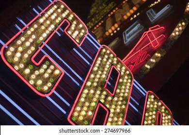 Illuminated neon signs of unitendified casinos in Las Vegas