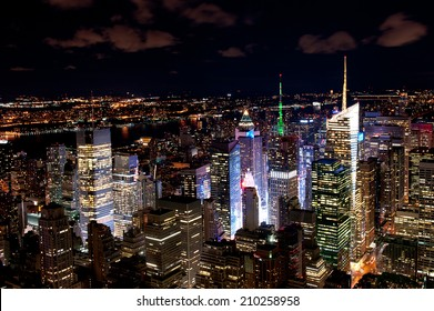 Illuminated New York skyscrapers by night