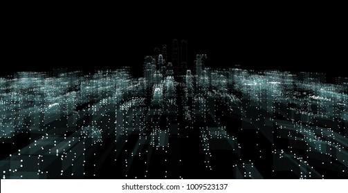 Illuminated night city skyline on black background. 3d illustration