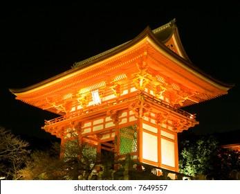 Illuminated night time view of the gateway of Kiyomizu Temple in Kyoto, Japan