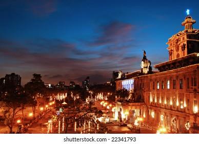 Illuminated Old Building at Night