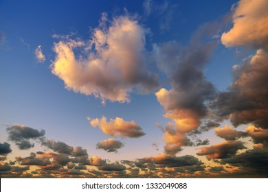 Illuminated orange sky and clouds during a sunset