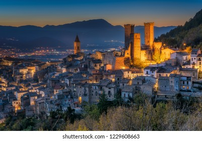 Illuminated Pacentro in the evening, medieval village in L'Aquila province, Abruzzo, central Italy.