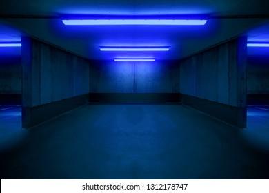 illuminated parking lot / underground car parking spot