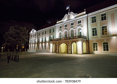 Illuminated parliament building in Tallinn, Estonia at night