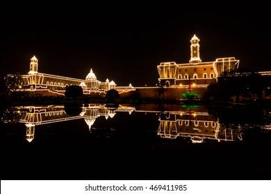 Illuminated Presidents House in India
