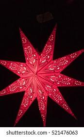 Illuminated red Christmas star