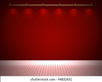 Illuminated red wall and white floor