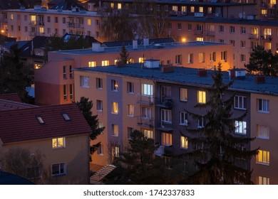 Illuminated residential area of Hloubetin after the sunset, Prague