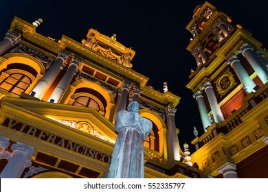 Illuminated San Francisco Church in Salta, Argentina at night