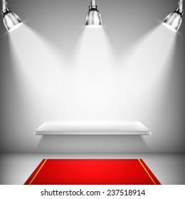 Illuminated Shelf With Red Carpet.