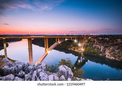 Illuminated Sibenik bridge near Skradin in Croatia