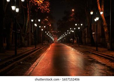 illuminated sidewalks street and night