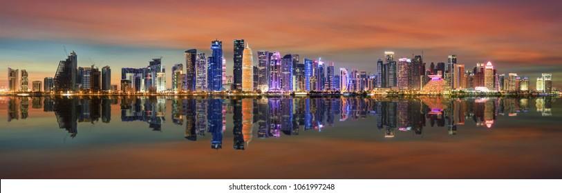 The illuminated skyline of Doha, Qatar, just after sunset