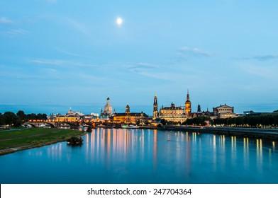 illuminated skyline of Dresden, saxony in the evening