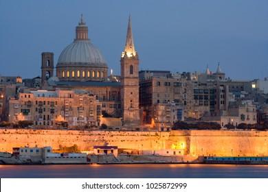 Illuminated Skyline of Valletta, Malta.