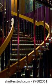 illuminated spiral steps in disco club
