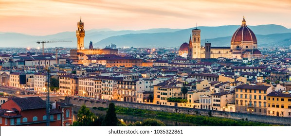 Illuminated spring cityscape of Florence with Cathedral of Santa Maria del Fiore (Duomo). Impressive morning scene of Tuscany, Italy, Europe. Traveling concept background. Orton Effect.