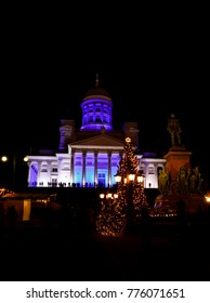Illuminated St. Nicholas cathedral in Helsinki, Finland at night