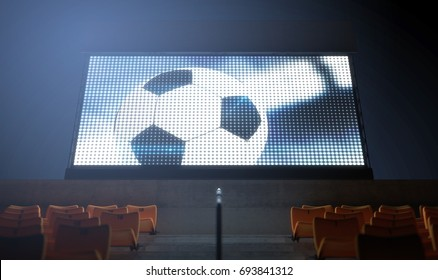 An illuminated stadium big screen showing a soccer replay in the stands in the night time - 3D render