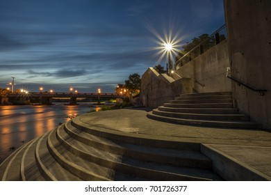 The Illuminated staircase on the Grand River in Cambridge, Ontario at dusk.
