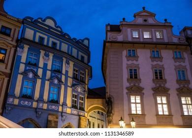 Illuminated street details in Prague during evening