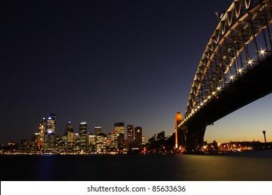 Illuminated Sydney harbour bridge in New South Wales Australia