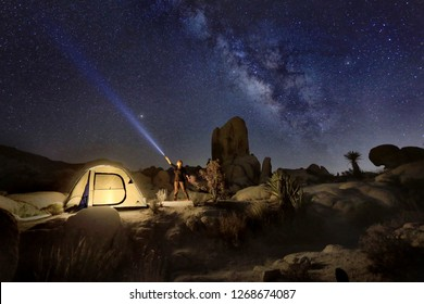 Illuminated Tent in Joshua Tree National Park With Person
