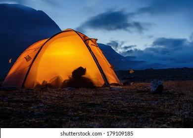 illuminated Tent in Lapland