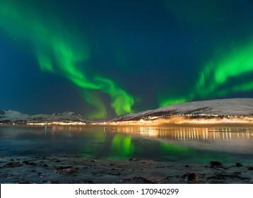 Illuminated Tent with northern Lights .Tromso