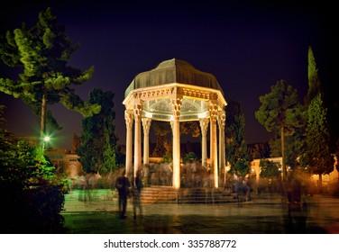 Illuminated Tomb of Hafez the Great Iranian Poet in Shiraz at night.