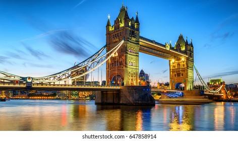 illuminated Tower Bridge during sunset dusk