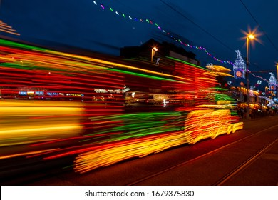 Illuminated train tram Blackpool seafront illuminations long exposure blurred abstract