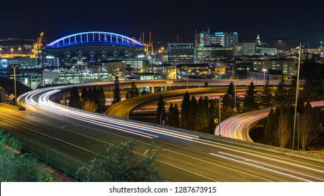 Illuminated View of Downton Seattle Freeway Car Light Streaks