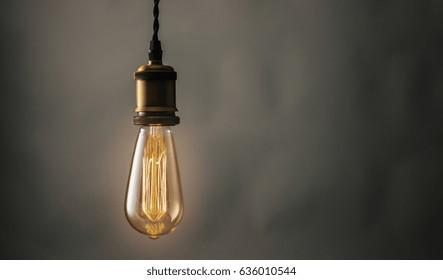 illuminated vintage hanging Edison light bulb
