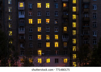 Illuminated windows of dwelling house