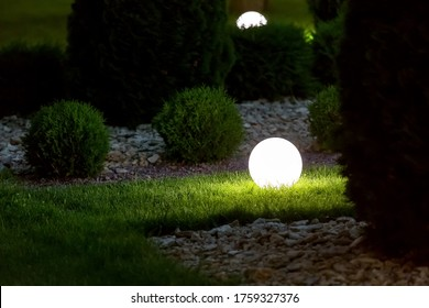 illumination backyard light garden with electric ground lantern with round diffuser lamp in lawn in outdoor park with landscaping thuja bushes in stone mulching, dark illuminate night scene nobody.