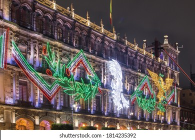 illumination in México City beacuse of independence mexican day