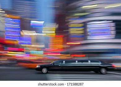 illumination and night life of the city motion blur