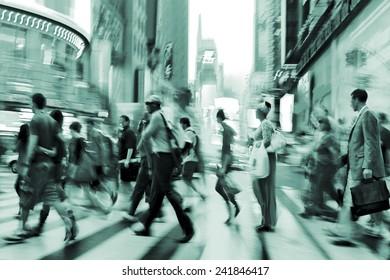 illumination and night life of the city motion blur and emerald tonality