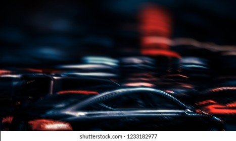 Illumination and night lights of NYC. Abstract image of neon lights on the streets of New York City. Multiple exposure and intentional motion blur