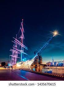 Illuminations of Dar Pomorza in Gdynia