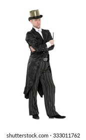 Illusionist Shows Tricks with a Magic Wand, on white background
