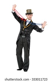 Illusionist Shows Tricks with a Rope, on white background