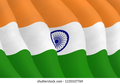 Illustraion of a flying Indian Flag