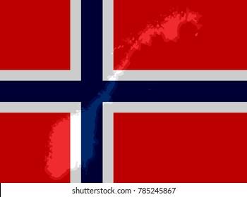 Illustraion of Norwegian Flag