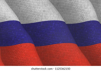 Illustraion of a Russian Flag with a fabric pattern