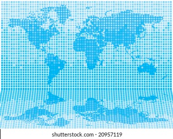 Illustrated abstract look at the world in different shades of blue tiles
