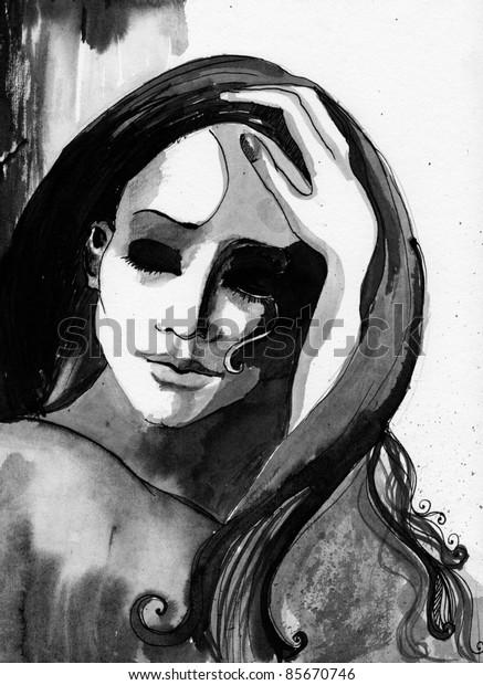 illustrated beautiful woman/handmade/ink